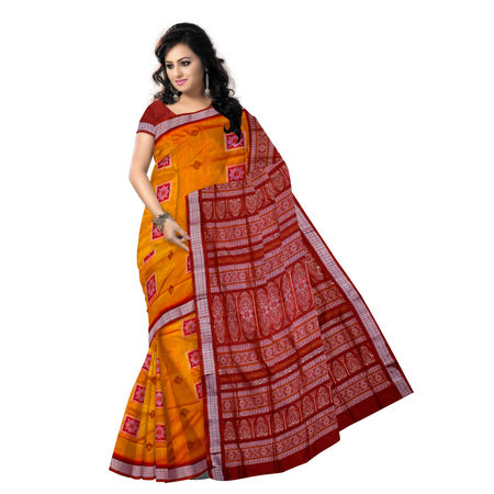 OSS5108: Orange-Yellow Bomkai Silk Sadhi for wedding wear