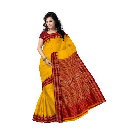 OSS5057: Butti design yellow-maroon colour silk saree