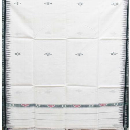 White With Green Color Combination Of Handloom Temple Design Towel Of Sambalpur, Odisha AJ001737