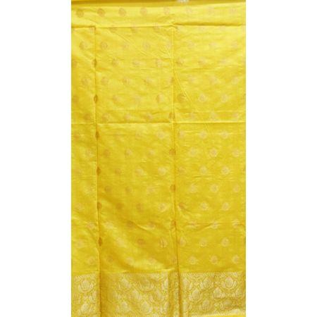 Yellow With Blue Handloom Cotton silk Dress Material of Banaras AJ001798