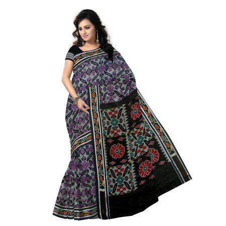 OSS417: Grey-Magenta Handloom Mercerized Sambalpuri Saree