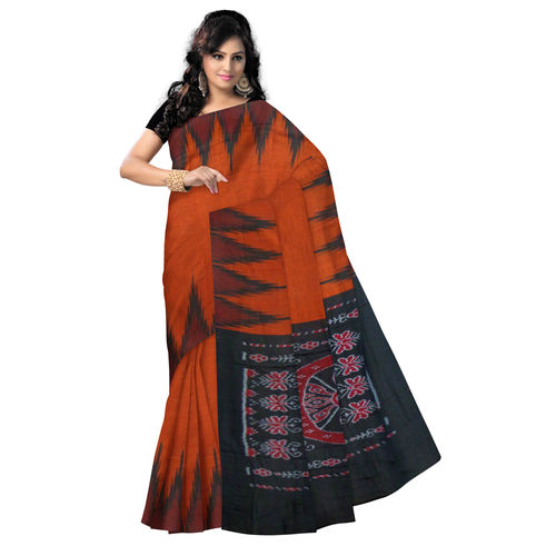 OSS074: Deep brown Temple design Sambalpuri Handloom cotton Saree
