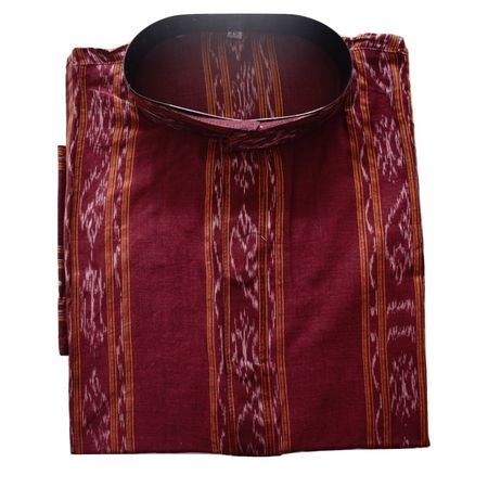 OSS618: Ikat design deep maroon colour hand woven cotton kurta for Men (Size-42)
