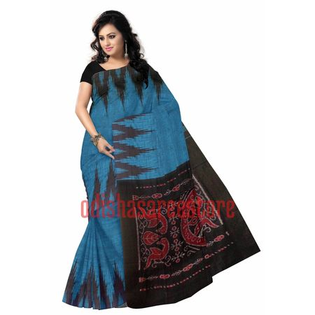 OSS974: Handloom blue color cotton barpali sarees orissa