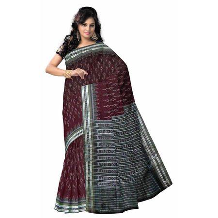 OSS952: Maroon Handwoven Sambalpuri cotton Saree online