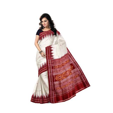 OSS5156: White and Red color beautiful Khandua Design handmade Silk Saree