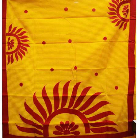 Yellow With Red Color Handloom Applique Design Cotton Saree Of West Bengal AJ001658