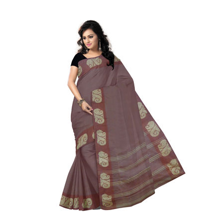 OSSWB9012: Light Maroon Handwoven Cotton saree of West Bengal