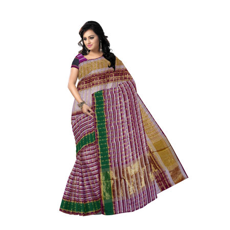OSSUP109: Multi-color Banarasee cotton silk mix check Sari.