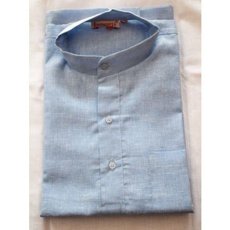 Handmade Sky Blue Color Plain Design Cotton Shirt Made In South India AJ001165 (Size-42)