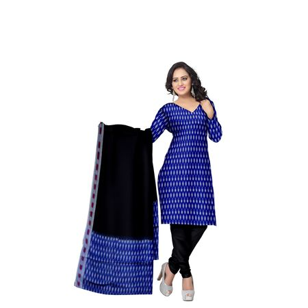 Unstitched Women's Handloom NavyBlue with Black Ponchampally Ladies cotton Dress Material with Dupatta AJ001339
