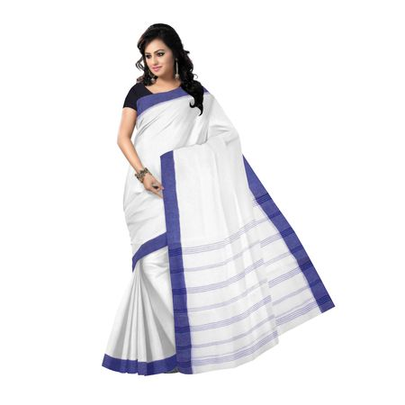 OSSWB152: White color Traditional Handwoven cotton sarees