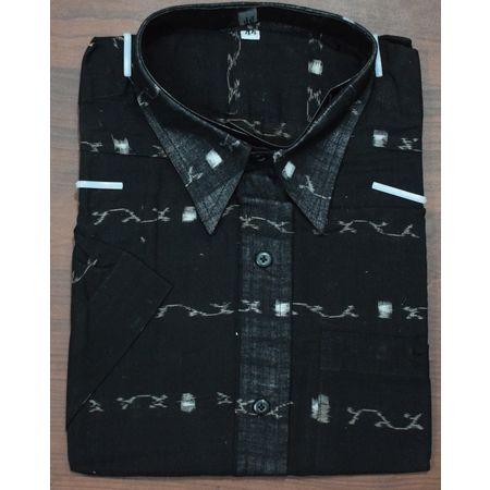 Handloom Sambalpuri Cotton Half Shirt in Black AJ001183