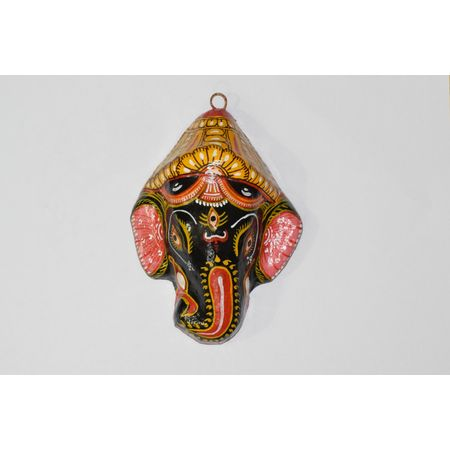 OHP076: Paper mache handicrafts of Black Lord Ganesh Face.