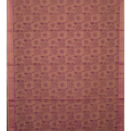 Peach with Lotus Pink Handloom Ladies Cotton Dress Material AJ001363
