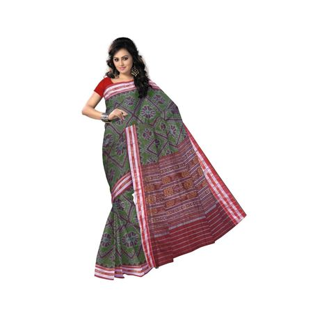 OSS9057: Olive with Maroon Handwoven cotton sarees of sambalpur odisha.