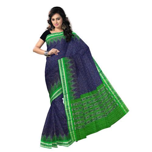 OSS475: Navy Blue handlloom Odisha Cotton Sari.