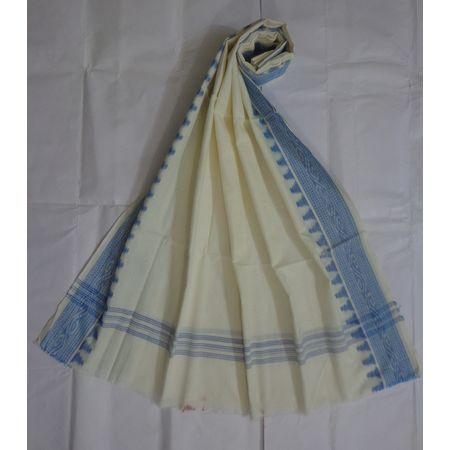 OSS496: White Cotton dupatta online shopping.