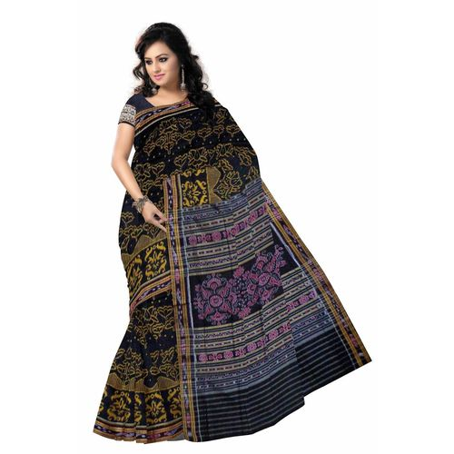 OSS3591: Black color handloom cotton saree for online shopping