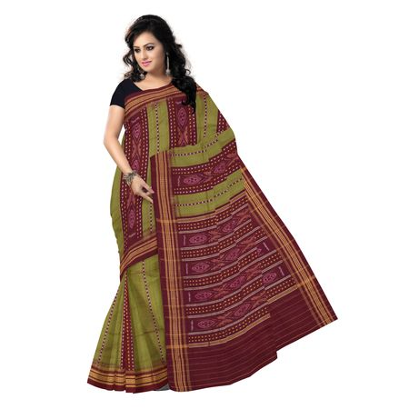 OSS419: Olive Green handwoven Sambalpuri design Cotton Saree