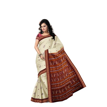 Tusser With Maroon Handloom Doll Bomkai Cotton saree made in odisha Sonepur AJ001516