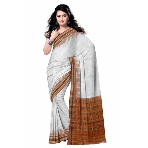 OSS7501: White with brown handwoven sambalpuri Cotton sarees