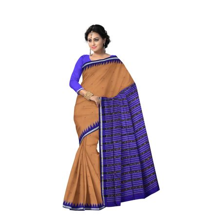 AJ000127: Beautiful Light Golden with Ink Blue Handloom Sambalpuri Silk saree with Blousepiece.