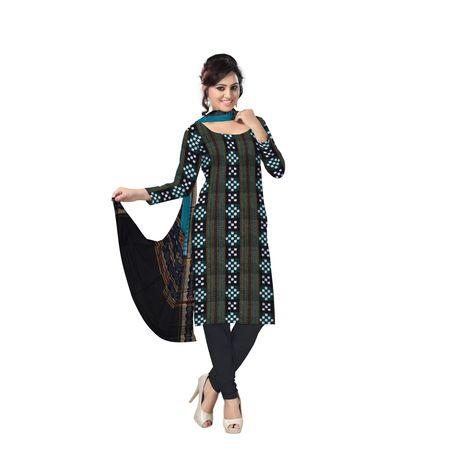AJ000135: Exclusive Handloom Traditional Green and Black Pasapalli Ikat Cotton Dress Material.