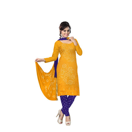 Violet with Orange Bandhani Dress Material in Cotton with Dupatta in Zari BorderAJ0108