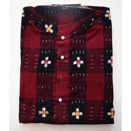 Handloom Sambalpuri Pasapalli Cotton Kurta in Maroon, Black AJ001197 (Size-40)