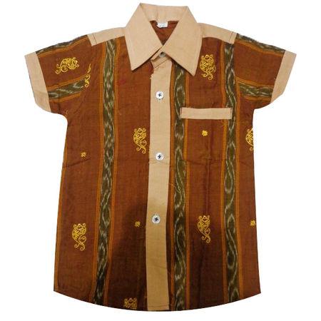 OSS8402: Baby boy handloom shirt made in odisha