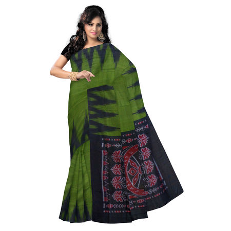 OSS073: Temple design Plain Olive Green with Black Handloom cotton Saree