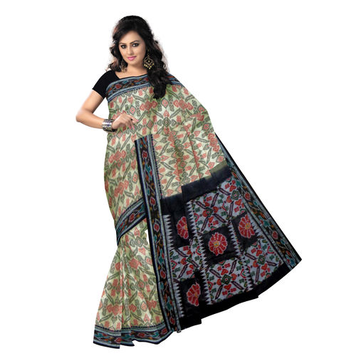 OSS201: Champagne Colored with Black Handloom Cotton Saree.