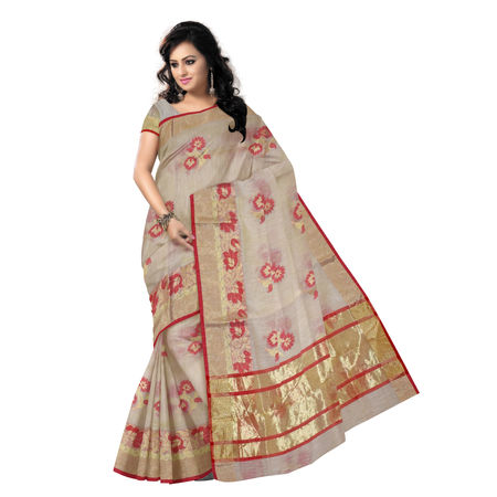 OSSUP102: Banarasee Cotton Silk Mix Saree With Zari Border & Floral Red Resham Buti-Off White