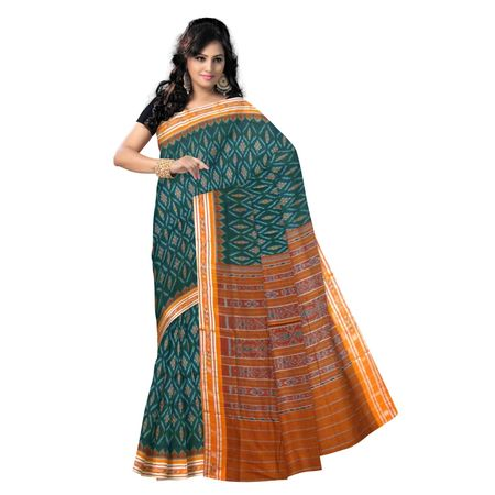 OSS9085: Green with orange handloom Cotton saree