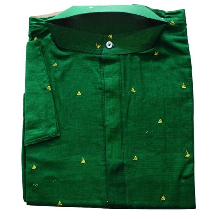 OSS619: Cotton Butti design Green Colour Handwoven Menswear Kurta (Size-42)