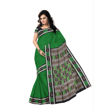 Handwoven Green with Black Bomkai Silk Saree of odisha Sonepur AJ00107