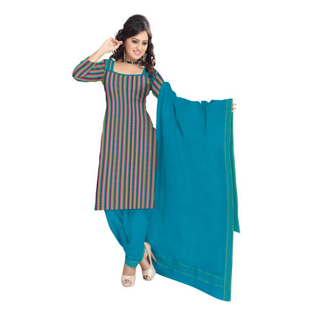 OSSTG6231: Handwoven Multicolor and Green Mangalagiri Cotton Dress Material