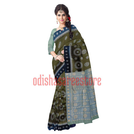 OSS284: Olive color handloom sambalpuri hyco design Silk Sarees for Party wear