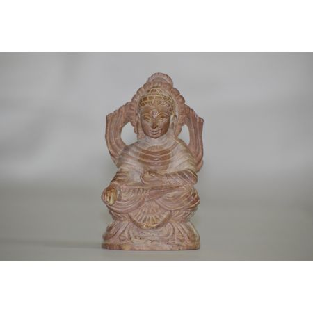 OSS400010: Lord Buddha Sitting Light Brown Stone Work.