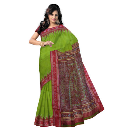 OSS508: Light Green with Red pasapalli border design handloom sambalpuri Silk sari
