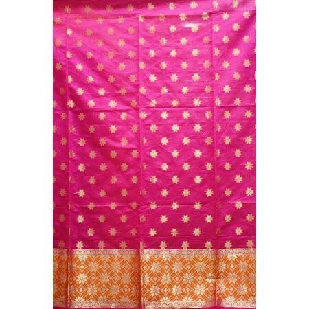 Pink With Orange Handloom Cotton silk Dress Material of Banaras AJ001790