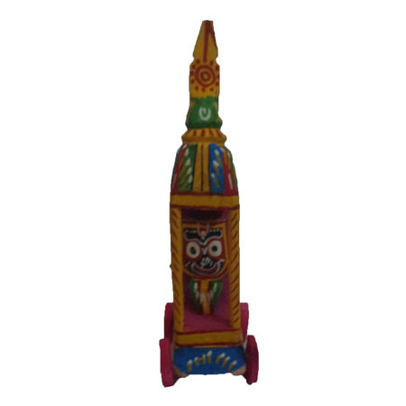 OHW021: Wooden Handicraft of Lord Jagannath in a Small Ratha.