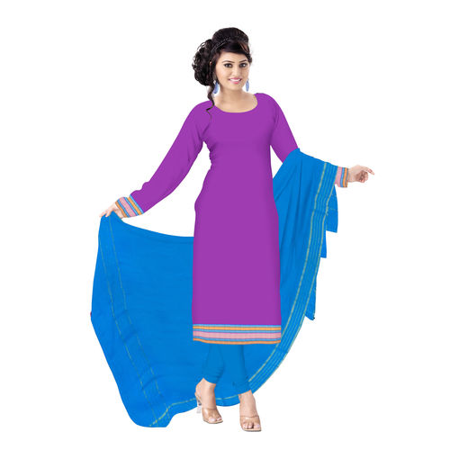 OSSTG6228: HandLoom Pure Soft Violet with Sky Blue Mangalagiri Ladies Cotton Dress Material Sets