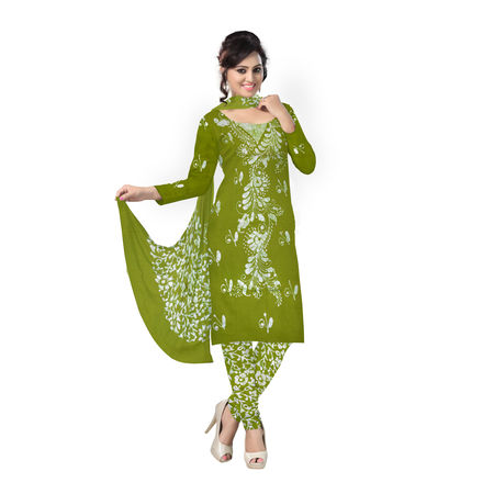 OSSWB120: Light green batik print dress material online shopping