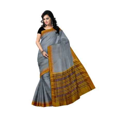 OSS5109: Light Grey color Handwoven Pata Silk Sari for festival wear