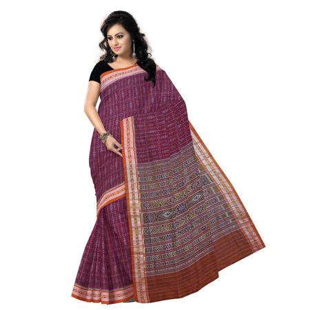 OSS7013: Stunning ikat design maroon cotton saree at low price