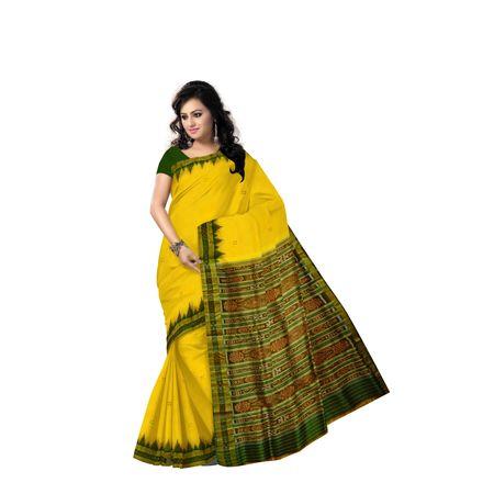 Buti Design Light Yellow With Forest Green Handloom silk saree of Odisha Nuapatna AJ001571