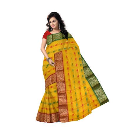 OSSWB076: Stunning Ganga Jamuna design Yellow cotton saree of West Bengal