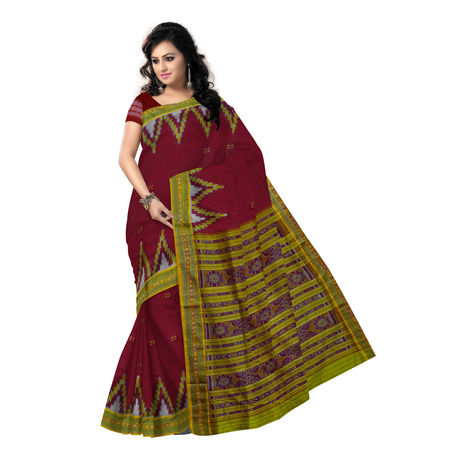 OSS173: Maroon with Yellow Big temple design sambalpuri handloom silk saree